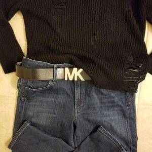 Michael Kors MK Black Faux Leather Belt